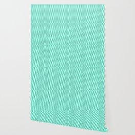 Aqua Blue with White Lipstick Kisses Wallpaper