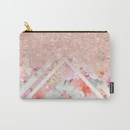 Modern rose gold glitter ombre floral watercolor white marble triangles Carry-All Pouch
