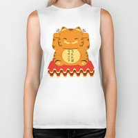 garfield Biker Tanks featuring Lucky Garfield by Ashley Hay