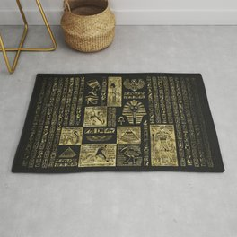 Egyptian  hieroglyphs and symbols gold on black leather Rug
