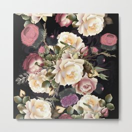 Beautiful rose pattern in vintage style Metal Print
