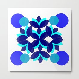 Minimalist geometric blue flower Metal Print
