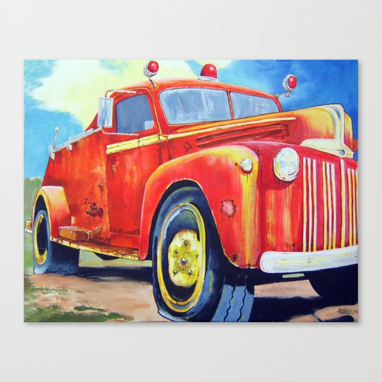 Big Red - Vintage Fire Truck Canvas Print by Original Art ...