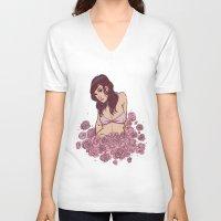 bikini V-neck T-shirts featuring Bikini Floral by Devilish Illustration