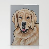 golden retriever Stationery Cards featuring Golden Retriever  by Cheney Beshara