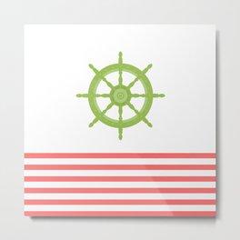 AFE Green Nautical Wheel Metal Print