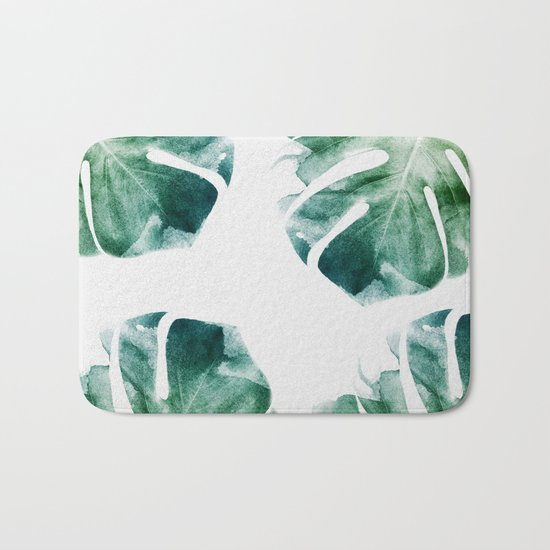 Watercolor Monstera Bath Mat