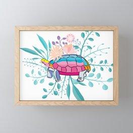 Happy Spring Tortoise Framed Mini Art Print