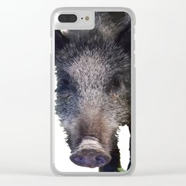 Crazy As A Peach Orchard Boar Vector Clear iPhone Case
