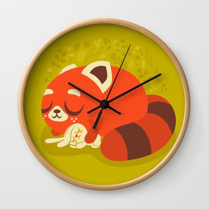 Sleeping Red Panda and Bunny / Cute Animals Wall Clock