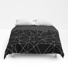 Ab Lines 45 Grey and Black Comforters