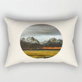 Iceland Landscape Grass Orange Sand & Grey Mountains Round Frame Photo Rectangular Pillow