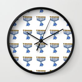 menorah 7,Hanukkah,jewish,jew,judaism,Festival of Lights,Dedication,jerusalem,lampstand,Temple, מְנו Wall Clock