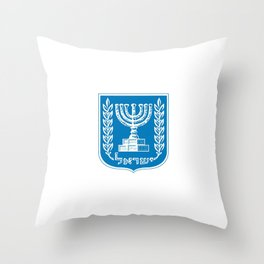 emblem of Israel 1-יִשְׂרָאֵל ,israeli,Herzl,Jerusalem,Hebrew,Judaism,jew,David,Salomon. Throw Pillow