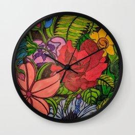 FLOWER JUNGLE Wall Clock