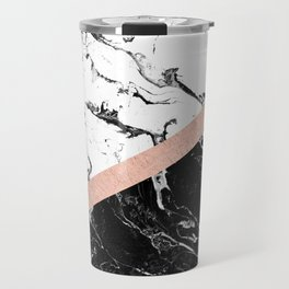 Modern black white marble color block rose gold Travel Mug