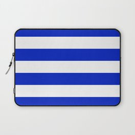 Cobalt Blue and White Wide Cabana Tent Stripe Laptop Sleeve