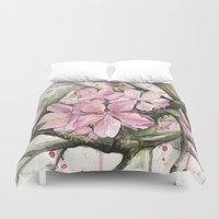cherry blossom Duvet Covers featuring Cherry Blossom by Olechka