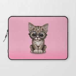 Cute Brown Tabby Kitten Wearing Eye Glasses on Pink Laptop Sleeve