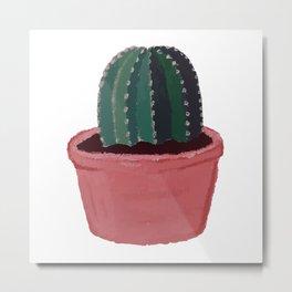 Cactus in Pot - Gouache Painting Metal Print