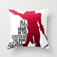 britney Throw Pillows featuring Britney Circus by Tadeu Marques