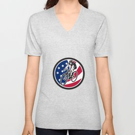 American Cyclist Cycling USA Flag Icon Unisex V-Neck
