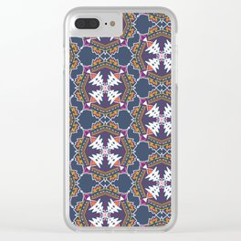 apache, tribal pattern in grey Clear iPhone Case