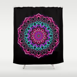 Project 208 | Colorful Mandala on Black Shower Curtain