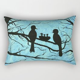Family of Birds in the Tree Nest Rectangular Pillow