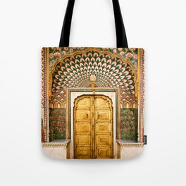 Lotus gate door in pink city at City Palace of Jaipur, India Tote Bag
