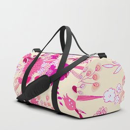 Neon pink red ivory hand drawn floral illustration Duffle Bag