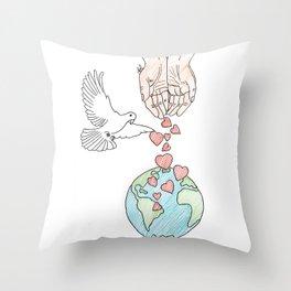 Peace, love & kindness Throw Pillow