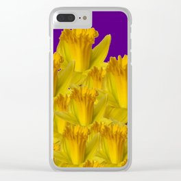 ROYAL PURPLE YELLOW SPRING DAFFODILS Clear iPhone Case