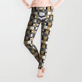 LOGAN caramel and indigo pattern on white Leggings