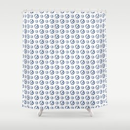 Foulard for You: White and Navy Shower Curtain