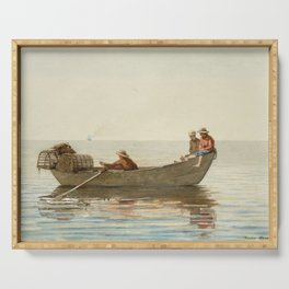 Winslow Homer - Three Boys in a Dory with Lobster Pots Serving Tray