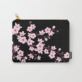 Cherry Blossoms Pink Black Carry-All Pouch