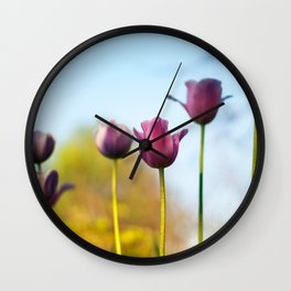 Purple tulips Wall Clock