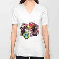 flowers V-neck T-shirts featuring Picture This by Bianca Green
