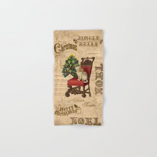 Vintage Christmas Cat Hand & Bath Towel