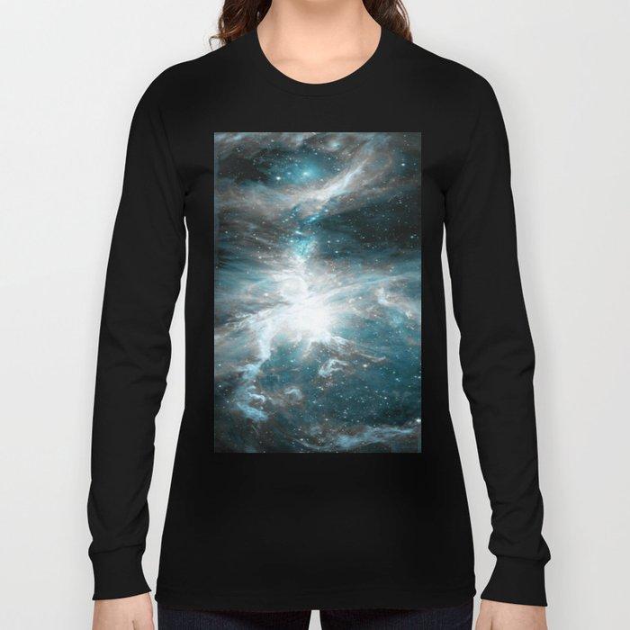 Orion Nebula Teal Gray Galaxy Long Sleeve T-shirt