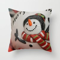 globe Throw Pillows featuring Frosty Globe by IowaShots