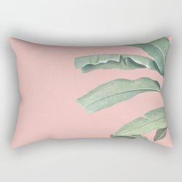 Green leaves on rose ink Rectangular Pillow