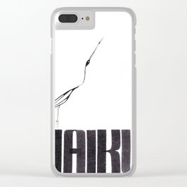WHTE BLACK clean minimal typography typo calligraphy haiku illustration ink - crane bird Clear iPhone Case