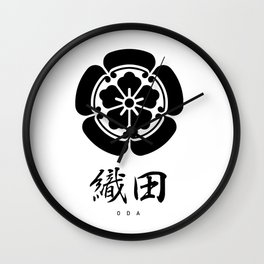 Oda Clan Family Crest - Black Version Wall Clock