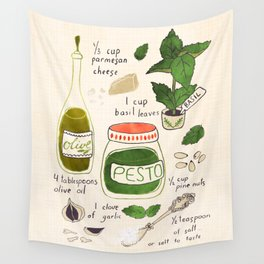 Pesto. Illustrated Recipe. Wall Tapestry