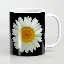 Summer White Daisy on Black Coffee Mug