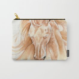 Golden Lusitano Stallion Study In Watercolor Carry-All Pouch