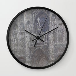 The Cathedral in Rouen. The portal, Grey Weather. by Claude Monet Wall Clock