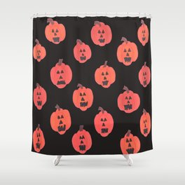 Halloween Jack-o-Lanterns on Black Shower Curtain